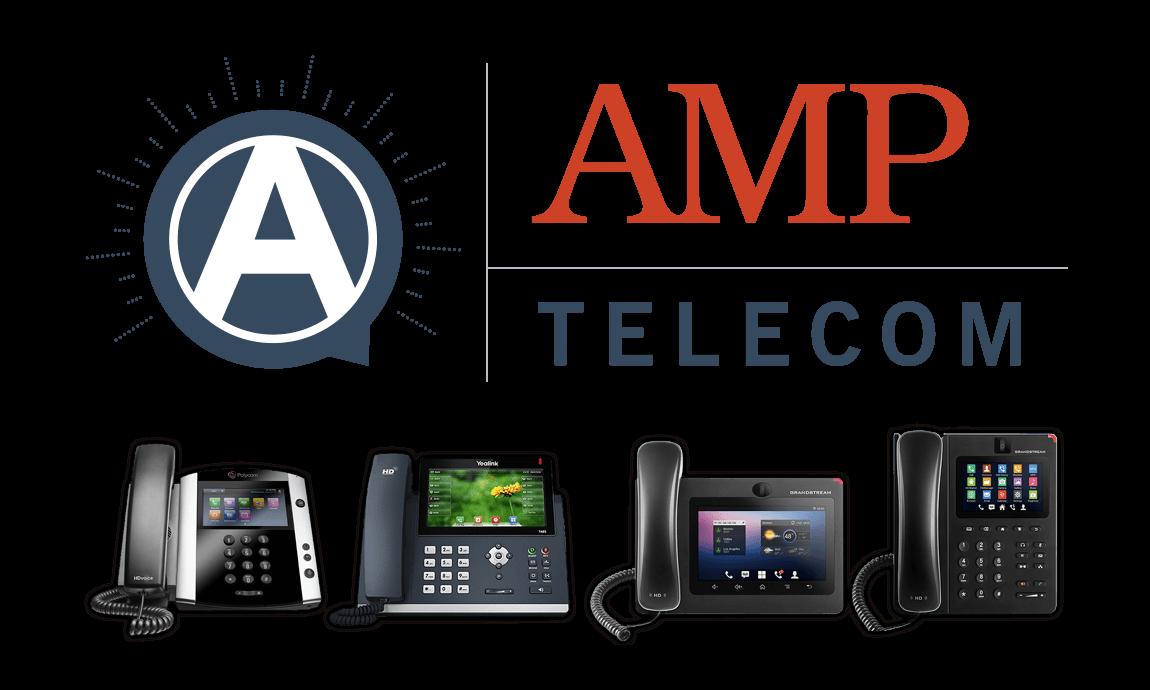 Amp Telecom Logo with Polycom, Cisco, Yealink, and Grandstream phones.